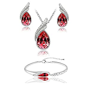 Shining Diva 18k White Gold Plated Crystal Jewellery Combo of Pendant Necklace Set with Fancy Party Wear Earrings and Bracelets for Girls/Women
