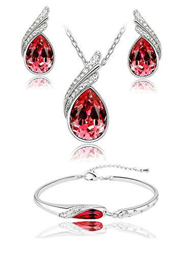 Shining Diva 18k White Gold Plated Crystal Jewellery Combo of Pendant Necklace Set with Fancy Party Wear Earrings and Bracelets for Girls / Women