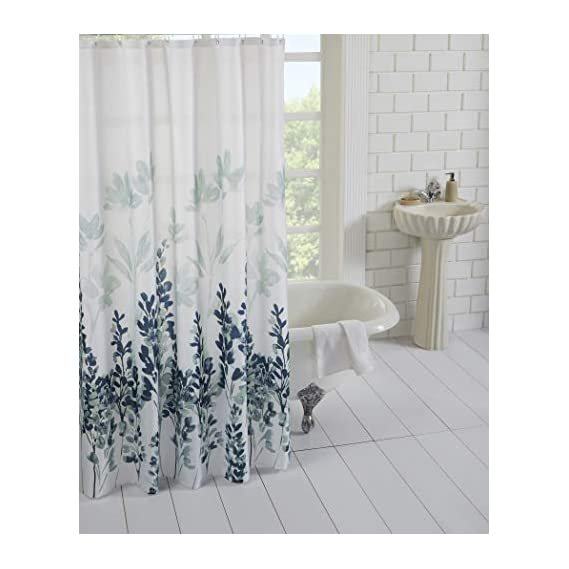 Homewards Digitally Printed Water Repellent Polyester Shower Curtain with Hooks - 72 x 72,Abstract Blue Floral Design