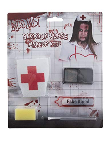 Zubehör Make Up Set Horror Krankenschwester mit Fake Blut und Haube, Zombie Nurse with Fake Blood and Headband, perfekt für Halloween Karneval und Fasching, Mehrfarbig ()