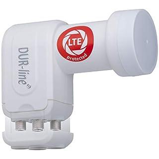 DUR-line +Ultra Quad LNB - 4 Teilnehmer weiß - mit LTE-Filter [ Test SEHR GUT *] 4-Fach, digital mit Wetterschutz, Full HD, 4K,Premium-Qualität