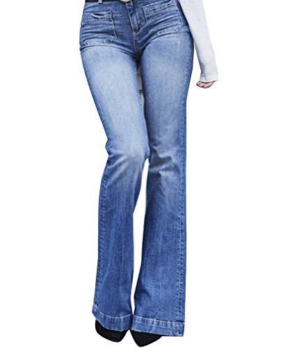 Mujer Cintura Alta Pantalones Acampanados Vaqueros Jeans Pantalones De Campana 3XL