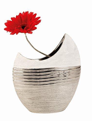 Moderne-Deko-Vase-Blumenvase-aus-Keramik-weisilber-Hhe-23-cm