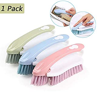 Scrub Cleaning Brush with Plastic Handle Multi Functional 2 in 1 Small Cleaning Tool and Brushes (Color Random)