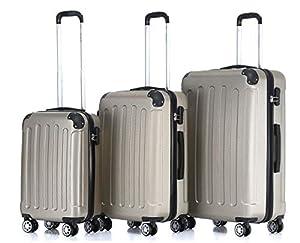 BEIBYE 2045 Hartschale Koffer Kofferset Trolley Reisekoffer Größe XL-L-M in 12 Farben (Champagner, Set)