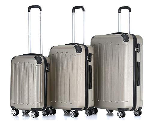 BEIBYE Hartschalen-Koffer Trolley Rollkoffer Reisekoffer Handgepäck 4 Rollen (M-L-XL-Set) (Champagner, Set)