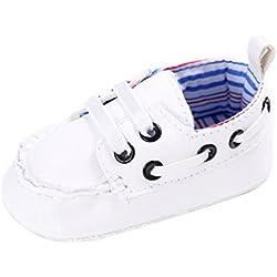 Tefamote Zapatos Botines Cuero de Suela Blanda Cuna Para Bebé Recién Nacido Niño niña (11, Blanco)