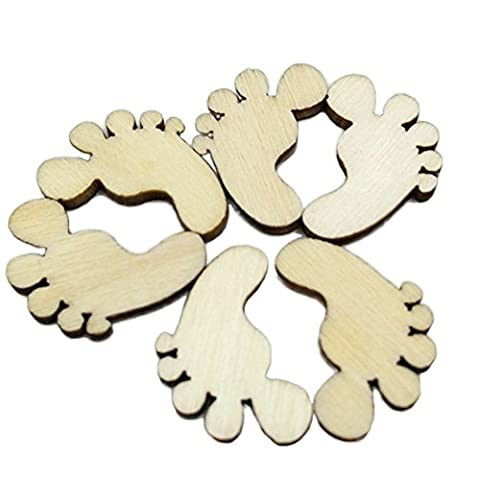 Dosige 100PCS Wooden Baby Small Foot Craft Feet Shapes Blank Plaque Signs Card Environmental DIY