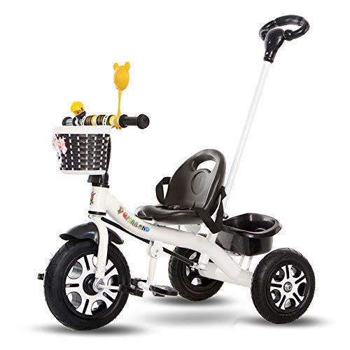 Kinderwagen - Kinder Dreirad 1-3-5 Fahrrad Licht Trolley Männer und Frauen Baby Fahrrad großes Auto kann 90x78x55cm fahren (Farbe : Weiß)