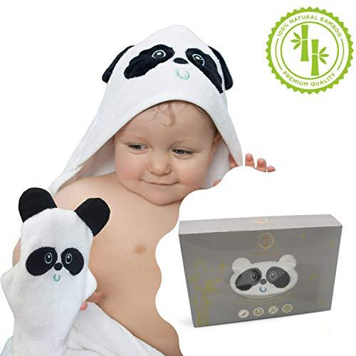 Accappatoio Asciugamano Panda Con Cappuccio e Guanto 100% In Bambù Biologico Adatto Per...