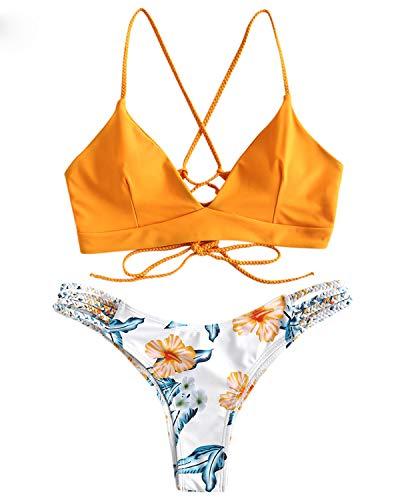 ZAFUL Damen Gepolsterter Bikini Set Bademode Badeanzug mit Blumenmuster Schnürung Zweiteilig GelbMedium