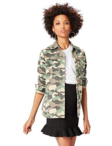 FIND Jacke Damen mit Camouflage-Muster und Schlitztaschen, Grün (Camouflage Print), 38 (Herstellergröße: Medium)