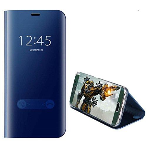 xinyunew Xiaomi Redmi Note 5 Pro Hülle Schutzhülle,360 Grad +Displayschutzfolie Panzerglas Schutzfolie Spiegel Flip Ständer Book View Mirror Cover Tasche Etui Shell für Redmi Note 5 Pro Himmel-blau