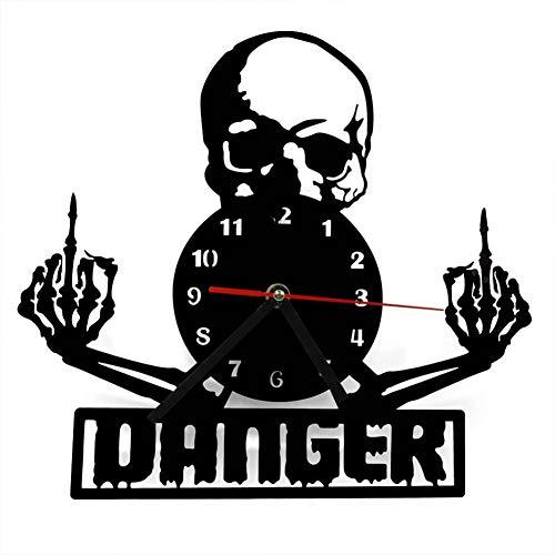 ClockGH Mittelfinger Schädel Time Clock Gothic Punk Schädel Wanduhr Geburt eines Dämons Gothic Timepiece Art Decor