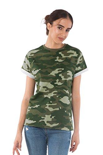 Bewakoof Womens Plain Cotton Boyfriend T-Shirts_Green _XXX-Large _136643