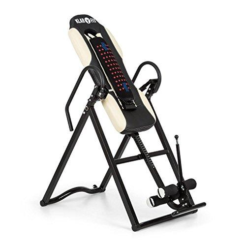 Klarfit Ease Delux - Inversionsbank, Schwerkrafttrainer, Rückentrainer, Inversionstisch, Entlastung der Wirbelsäule, bis 136kg Körpergewicht, Wärme-und Massagefunktion, beige