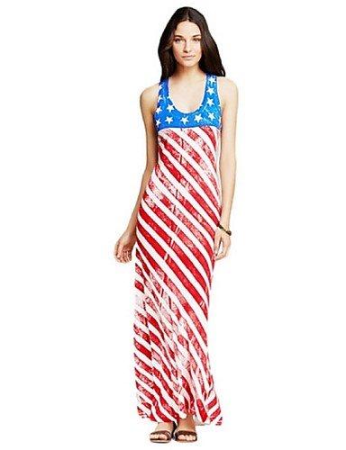 PU&PU Robe Aux femmes Gaine Street Chic,Rayé U Profond Maxi Polyester RED-XL