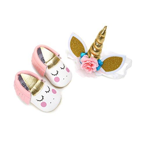 Zapatos de Niña con Diadema Regalo Set Unicornio Flor Suave Suela Zapatillas Antideslizantes Zapatos de Princesa (6-12 Meses, B)