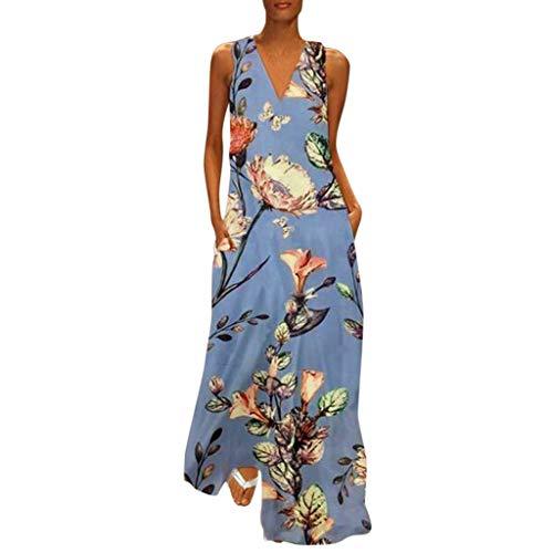 OMYGOA ❤2019 Frauen Casual Fashion ärmellose V-Ausschnitt Blumen Sommer Bequeme Weste Kleid(Blau,M)