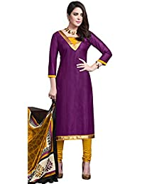 Likeable Purple Bhagalpuri Silk Straight Suit With Dupatta