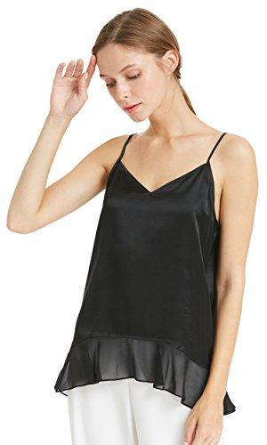 Schwarze Seide Cami (LILYSILK Seidentop Seide Unterhemd Cami Tops Schlicht Camisole Trägertop Damen 22 Momme Schwarz L)