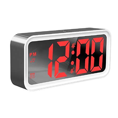 XT Reloj Despertador LED Silencio Espejo de sueño Luminoso Reloj electrónico USB Teléfono móvil Carga Música Relajante Reloj Despertador Digital (220 * 100 * 50 mm),Red