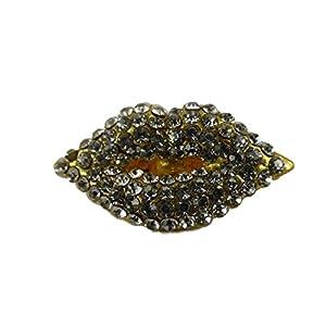 Brosche / Anstecknadel / Pin goldfarben Straß Mund Lippen Kuss Kosmetik B152