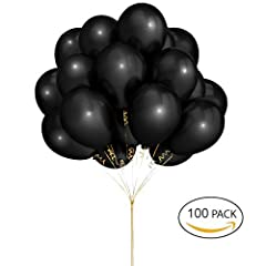 Idea Regalo - Hoshin Palloncini neri, 30cm di palloncini di lattice metallizzati per la festa di nozze Baby Shower Compleanni di Natale Decorazione di feste di Carnevale (100 pezzi)