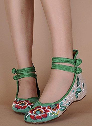 Icegrey Scarpe Donna Ballerine Ricamato A Mano Etnica Ricami Floreali Con Cinghietti Caviglia Slip On Scarpe Verde