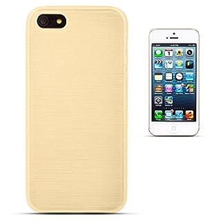 Moozy Glossy Silikon Hülle für iPhone 5s SE, Gold - Glänzend Gebürstete Brushed Cover Case