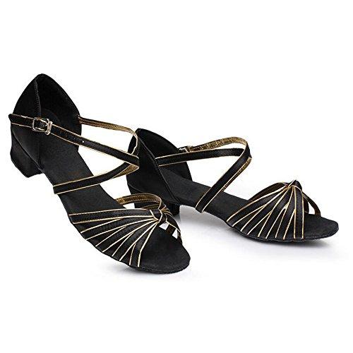 Eastlion Ballsaal Salsa Tango Schuhe Latin Dance Schuhe Tanz Sandalen für Frauen und Mädchen Praxis Schwarz+Gold 4KcTwDi5E