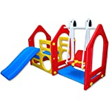 Playhouse with Slide and Swing for Outdoor Indoor XXL Hide Climber Play House Blue Red