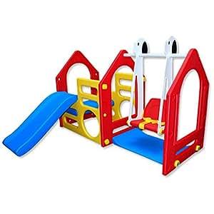 LittleTom Kinder Spielhaus mit Rutsche Schaukel 155x135 cm Kunststoff Spiel-Turm Kletter-Haus für Drinnen Draußen Premium Qualität Rot Blau Gelb