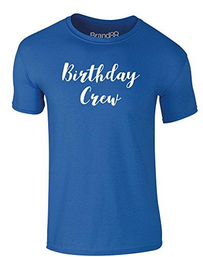 Brand88 - Birthday Crew, Erwachsene Gedrucktes T-Shirt Königsblau/Weiß