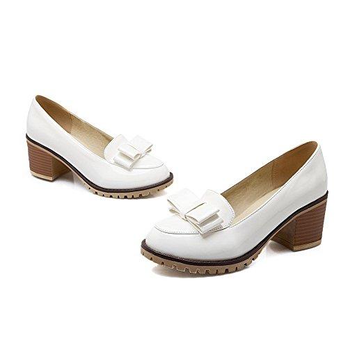 VogueZone009 Damen Lackleder Rund Zehe Mittler Absatz Ziehen Auf Rein Pumps Schuhe Weiß