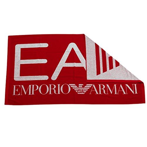 Emporio Armani EA7 Badetuch Saunatuch 1,0 x1,70 Fb.Rot Logo Weiß