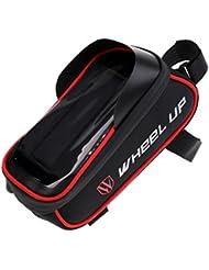 MagiDeal Alforja de Almacenamiento Soporte de Teléfono Móvil de Bici Bicicleta Pantalla Táctil Conector de Auriculares - rojo