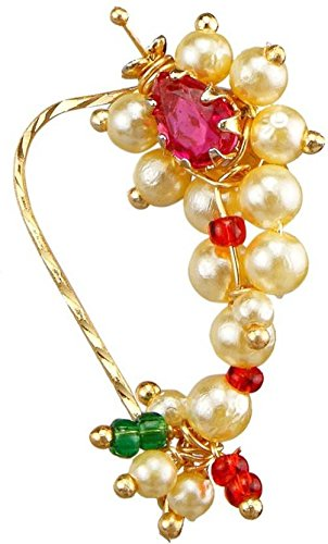 Meenaz Jewellery Traditional Maharashtrian Nath Nose Rings white Ruby Gold Stone Nath Gold Pearl Bead For Women Girl- Nose Ring-110
