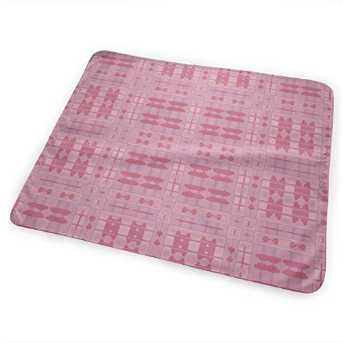 Voxpkrs Warm Pink Tribal Plaid Baby Crib Pee Diaper Changing Pad Mattress Protector for Toddler Kids Infant - Pink Plaid Protector