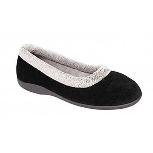 Zapatillas de andar por casa para mujer de Julia, con cuello de espuma viscoelástica, color Negro, talla 37 1/3
