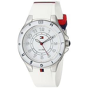Tommy Hilfiger 1781271,Reloj de Acero Inoxidable con Banda de Silicona Blanca para Mujeres.