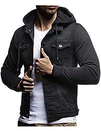cfzsyyw Mens Casual Slim Jacket Rugged Wear Hooded Denim Jean Hoodie