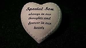 """Handgefertigt, Grabschmuck, Aufschrift """"Special Son"""" Love Heart Ornament """""""