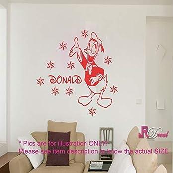 Disney Donald Duck Vinyl abnehmbare Wandaufkleber Aufkleber Wandbild personalisierte Name Kinderzimmer Dekor d2