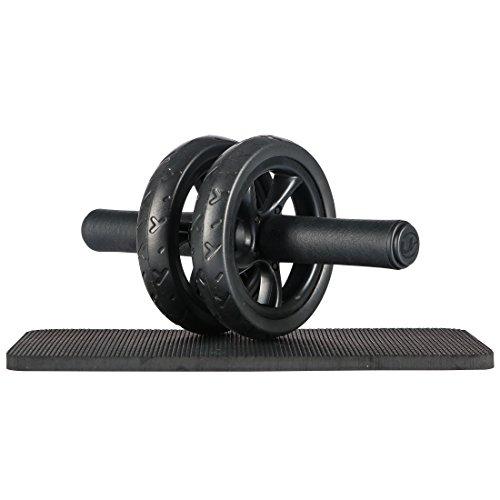 Ultrasport Bauchtrainer ab Wheel Bauchmuskeltrainer für Zuhause, mit Doppelrollen und Knieauflage, Schwarz, OS