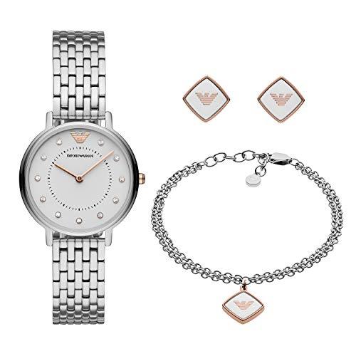 Emporio Armani Damen Analog Quarz Uhr mit Edelstahl Armband AR80023