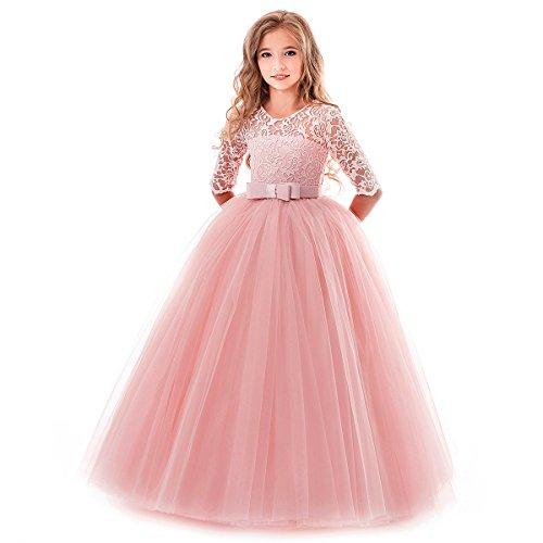 OBEEII Prinzessin Kleid Mädchen Blumenspitze Kurze Ärmel Elegante Ballkleid Cocktailkleid 2-3 Jahre Rosa
