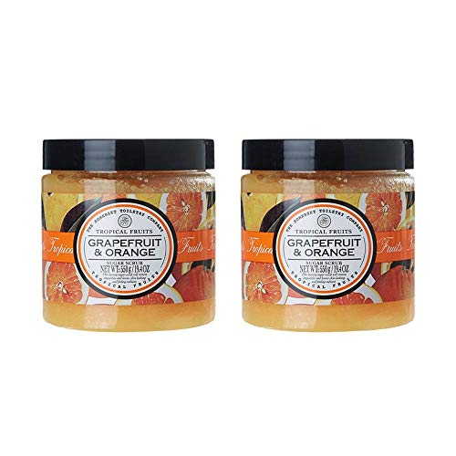 Grapefruit Duo (THE SOMERSET TOILETRY COMPANY LIMITED Tropical Fruits Grapefruit & Orange, Body Sugar Scrub, Duo Pack)