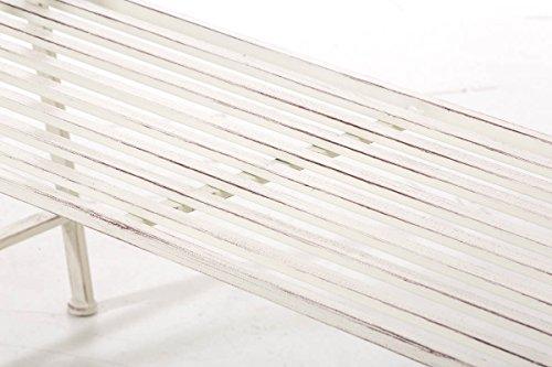 CLP Gartenbank AZAD im Landhausstil, Eisen lackiert, ca 110 x 50 cm Antik Creme - 7