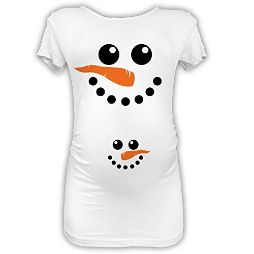 T Shirt Natale Maglia Premaman Idea Regalo di Natale Snowman Bianca L Manica Lu